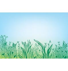 Summer grass border banner - hand drawn vector image vector image
