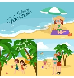 Fun at beach Happy kids plaing sand around water vector image vector image