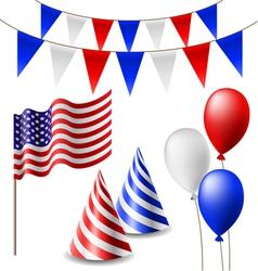 July 4 celebrating item set vector image