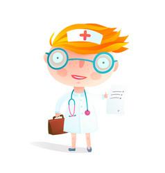 kids nurse or doctor children profession game vector image