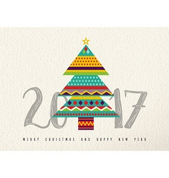 New Year 2017 colorful abstract pine tree design vector image vector image