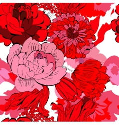 seamless pattern with red flowers vector image vector image