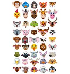 big animal head cartoon collection vector image