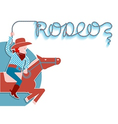 Cowboy with lasso rodeo background vector image vector image