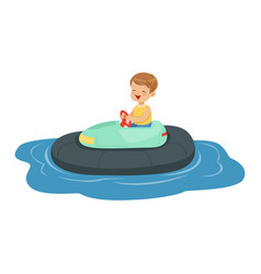 cute little boy riding boat kid have a fun in vector image vector image