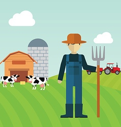 Farmer working in the farm vector image