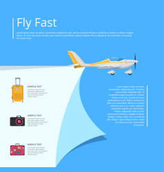 Fly fast poster with propeller airplane vector