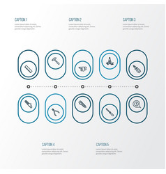 handtools outline icons set collection of cutter vector image