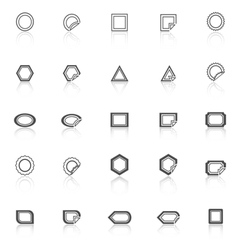 Label line icons with reflect on white background vector image vector image