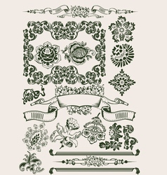One Color Flowers Vintage Clipart vector image vector image