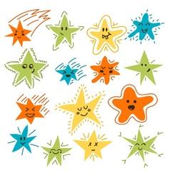 Set of hand drawn funny stars Cartoon comic style vector image vector image