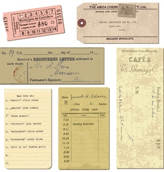 vintage paper ticket elements vector image