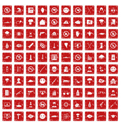 100 tension icons set grunge red vector