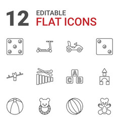 12 toy icons vector image