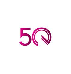 50 years anniversary celebration purple line vector