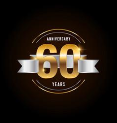 60 years anniversary celebration logotype golden vector