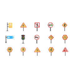 a pack of road signs and junctions flat ic vector image