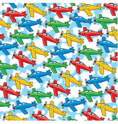 Background pattern with airplanes and clouds vector