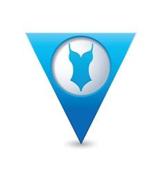 Bathing suit symbol map pointer blue vector