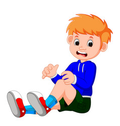 boy crying with a scratch on his knee vector image