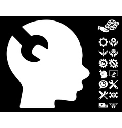 Brain Wrench Tool Icon with Tools Bonus vector image