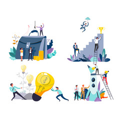 business or startup concept isolated icons idea vector image