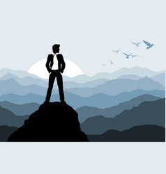 businessman standing on the rock vector image