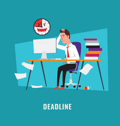 Businessman with project deadline vector