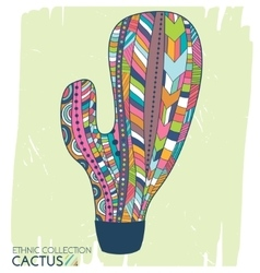 Cactus ethnic tribal style Boho mexican print vector