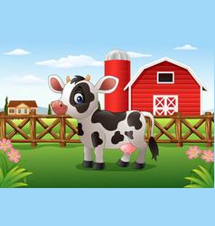 Cartoon cow in the farm vector