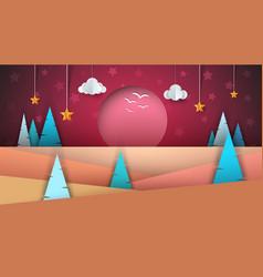cartoon paper landscape sun fir cloud star vector image