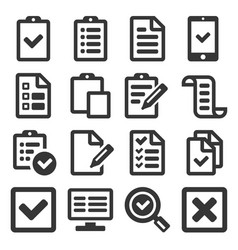 Checklist survey icon set on white background vector