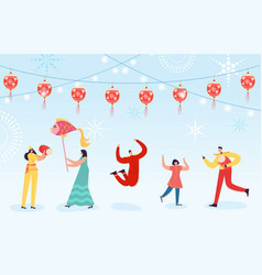 chinese lunar new year dance characters parade vector image