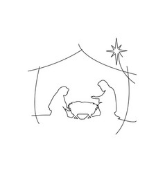 Christian christmas nativity scene of baby jesus vector