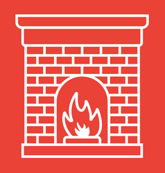 Christmas fireplace glyph icon new year vector