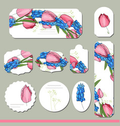 collection with different floral paper labels for vector image