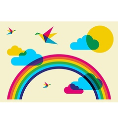 Colorful humming birds and rainbow vector