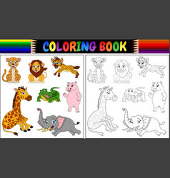 coloring book with wild animals cartoon vector image