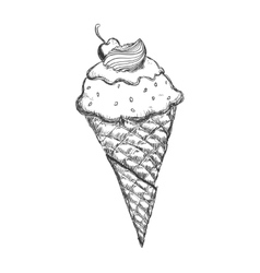 Cone of ice cream sketch icon Dessert and sweet vector image