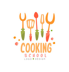 Cooking school logo design emblem with kitchen vector