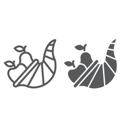 cornucopia line and glyph icon harvest and food vector image