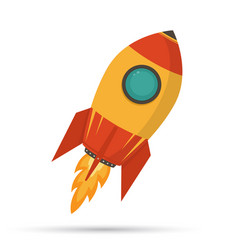 cosmic rocket in flat design on white background vector image