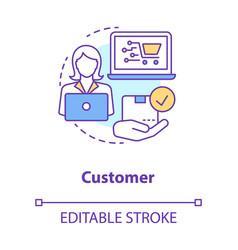 customer concept icon online shopping idea thin vector image