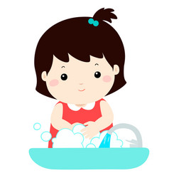 cute girl washing hands vector image