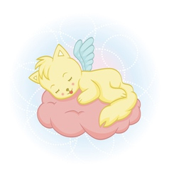 Cute sleeping angel-cat vector image