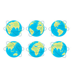 earth planet in different positions and axes vector image