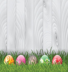Easter eggs on wood background 0103 vector