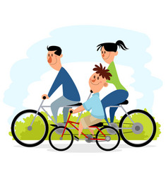 Family outing on bicycles vector