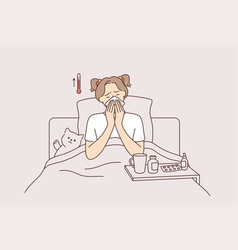 Fever illness and feeling ill concept vector