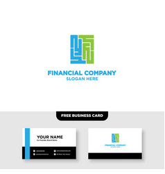 Finance logo design and business card template vector